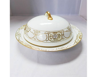 Antique Nippon Butter Dish in white and gold decorated