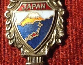 Japan Enameled Nickel Silver Souvenir Spoon