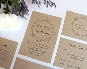 Rustic Country Cottage Garden Wedding Invitation Set