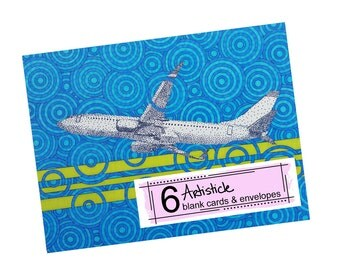 Airplane Note Cards - Airplane Stationery - 737 Airplane Card - Gift For Him - Pilot Gift - Avgeek Cards - Blank Cards - Thank You Cards