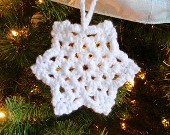 Set of 5 crocheted snowflakes
