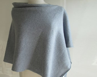 Poncho Knitted in Lambswool - British Spun Wool - Colour Steel Grey