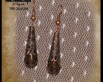 Steampunk Earrings Copper FILIGREE SMOKY QUART Earrings Dangle Earring Fishhook style Steampunk Victorian Earrings by SweetDarknessDesigns