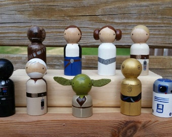 Peg Dolls from a Galaxy Far Far Away - Cake Toppers / Collectibles - Set of 9 Pegs