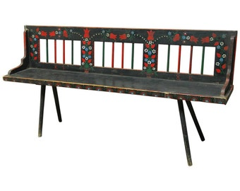 Romanian Painted Folk  Art Bench