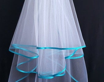 White Wedding Veil, Three Layers, Turquoise Satin Edging.