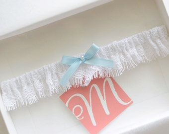 Wedding garter, something blue bridal garter, toss garter, lace garter, single garter, white and light blue garter, pearl garter