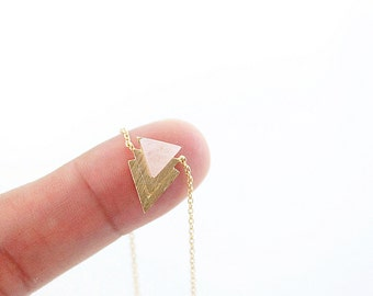 Pink Chevron necklace Gold Framed Chevron Triangle Pendant Necklace Bridesmaid Gift Bridesmaid Necklace Simple and Modern Necklace