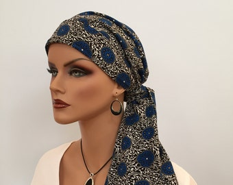 Carlee Pre-Tied Head Scarf - Cobalt Blue Medallions - A Cancer, Chemo, Alopecia Hat, Wrap, Head Cover for women experiencing hair loss.