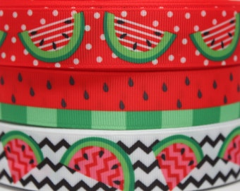 Watermelon Ribbon 7/8 - 1 Inch Grosgrain Ribbon by the Yard for Hairbows, Scrapbooking, and More!!
