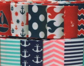 "Nautical Ribbon 7/8 - 1"" Inch Grosgrain Ribbon by the Yard for Hairbows, Scrapbooking, and More!!"
