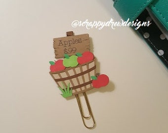 Apple picking barrel Halloween, fall, autumn planner clip/ book mark/ planner accessory