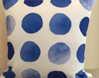 Cobalt Spotted Watercolour Print Cushion Cover