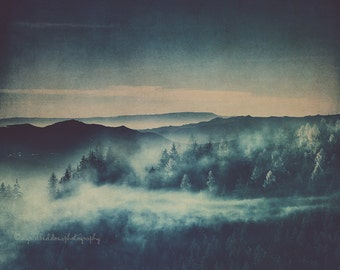 Mountain photography fog pine trees print haze moody blue Landscape wilderness fine art photo mountain large wall art rustic home decor