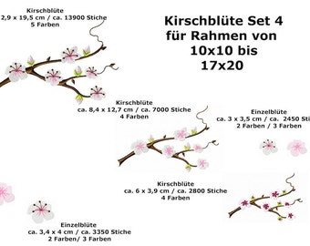 Cherry Blossom embroidery set 4-7 files suitable for frame 10 x 10 and 17 x 20