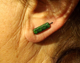 Green Striped Beaded Ear Pins