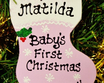 U Choose Name & Date Personalized Pink BABY'S FIRST Christmas ORNAMENT Name Nursery