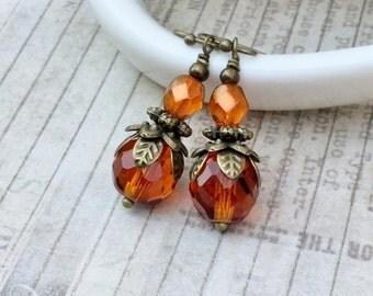 Topaz Earrings, Victorian Earrings, Orange Earrings, Antique Gold Earrings,Czech Glass Beads, Victorian Jewelry,Womens Earrings, Unique Gift