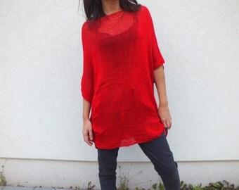 Red sweater, Cotton sweater, Poncho sweater, Long Sweater, Bohemian style, Boho chic sweater