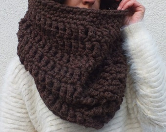 Hooded cowl, Oversized cowl, hooded scarf , Brown cowl hood