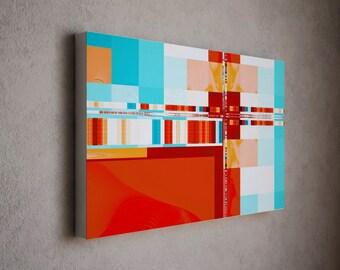 "Mid Century Modern Art - Teal and Red Decor - Canvas Print - Geometric Art - Vintage Modern Wall Decor - "" Modern Mondrian """""