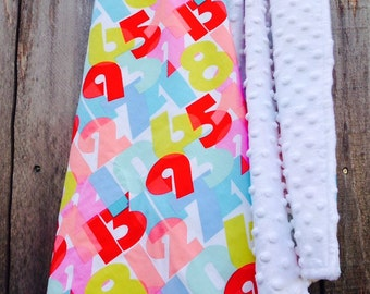 Baby girl numbers blanket - baby girl cotton blanket - baby shower gift - minky baby blanket