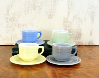Vintage Children's Teacups, Hazel Atlas Moderntone Platonite Dishes, Milk Glass Teacups and Saucers, Play Dishes