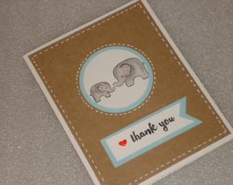 Baby Elephant Thank You Card Set Handmade