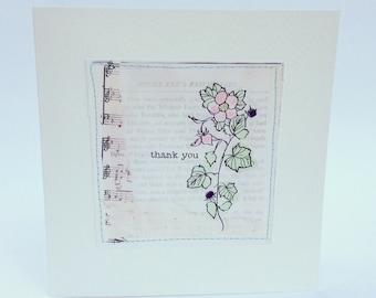 Handmade Collage 'Thank you' Blackberry Illustration Greeting Card Botanical Print
