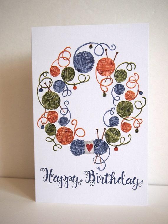 Knitting Birthday Card : Knitting happy birthday greeting card blank inside on white