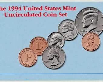 10 coin, 1994 United States Mint MS-65 Uncirculated coin set.  1472A
