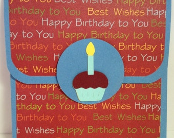 Blue 'Best Wishes' Birthday Gift Card Holder