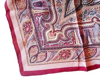 Vintage silk scarf grey fuchsia