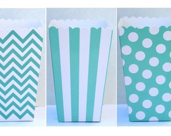 "SALE, 12 Aqua Blue Popcorn Boxes- Treat Boxes - Party, Birthday and more ""Same Day Shipping"""