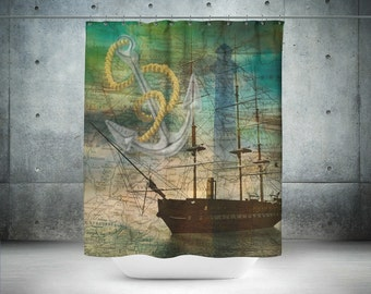 Nautical Shower Curtain  Old Map Anchor Ship Lighthouse Abstract  Vintage Inspired