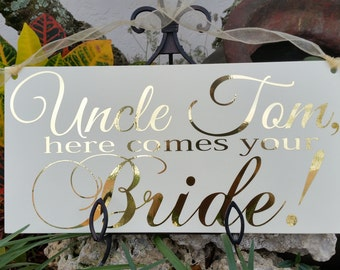 Gold wedding sign,Wedding sign,Here comes your Bride Sign, Photo Prop, Ring bearer sign, Flower girl sign, Wedding decor,Gold text sign