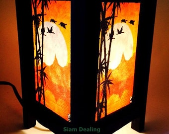 Asian Oriental Japanese Sunset Art Bedside Desk Table Lamp