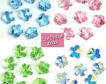 GREAT VALUE! 10 Swarovski Crystal 5744 Flower Beads 8mm  Peridot, Aqua, Crystal AB