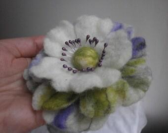 Felt brooch,white purple felt flower brooch, big brooch, green brooch, felted flower, women jewerly,purple flower brooch felt pin,big flower