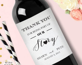 Personalized Thank You Wedding Wine Label Custom Wedding Wine Label