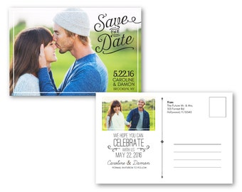 Customizable Digital Wedding Save The Date Postcard - Modern - PSD Photoshop Template for Photographers - INSTANT DOWNLOAD - WS1006