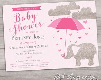 Pink and Silver Sparkle Elephant with Umbrella Baby Shower // Digital, Printable File
