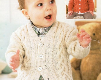 Sirdar Baby Boys V-Neck & Shawl Collar Cardigan DK Knitting Pattern PDF