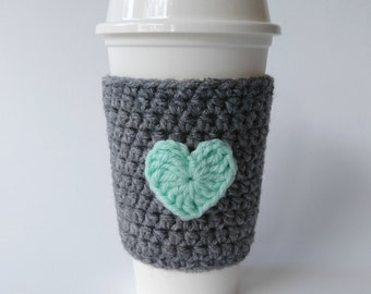 Crochet Coffee Cozy Grey and Mint Cup Sleeve