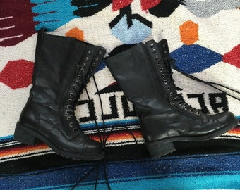 Kelsi Dagger boots womens size 6.5 14 eye leather boots