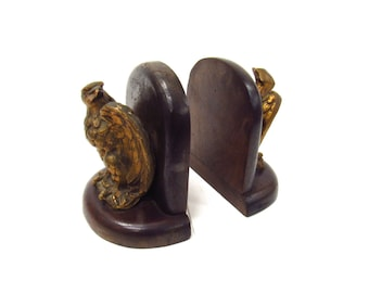Vintage Wood and Gold Eagle Bookends - 1970s Federal Eagle