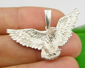 Large Flying Spreading Wings Bird Of Prey Wedge Tailed Eagle Eaglehawk Pendant Genuine 925 Sterling Silver - P109