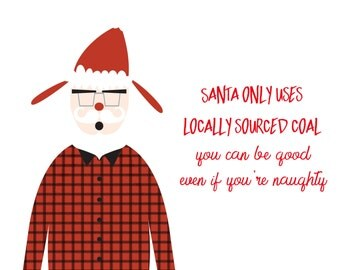 Hipster Santa Claus Christmas Card set