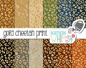 Cheetah Print Digital Paper – Gold foil leopard print scrapbook paper in navy, black, grey, and brown - printable paper - commercial use OK