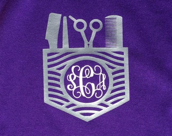 Heat Set Hairstylist Monogram shirt. Perfect for the Hairstylists! We can do any color glitter or matte!